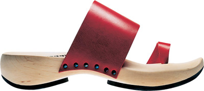 Trippen Classic wooden shoe Zen in red leather