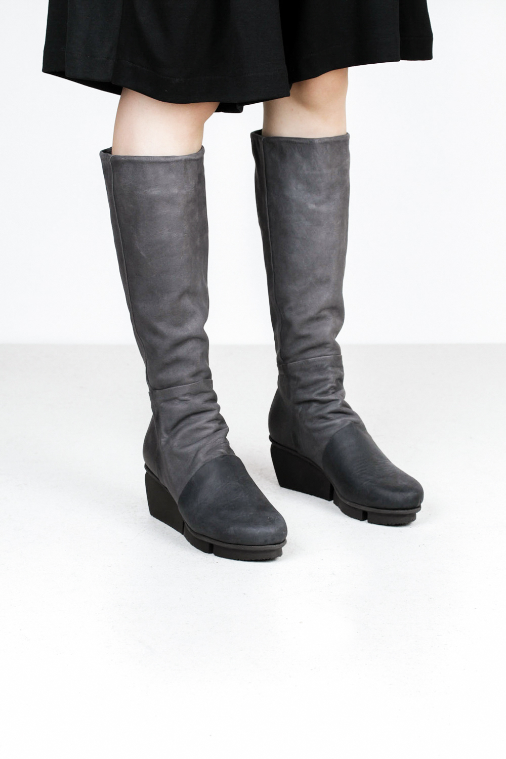 Trippen melt f pul black tiz gry leather boots 2