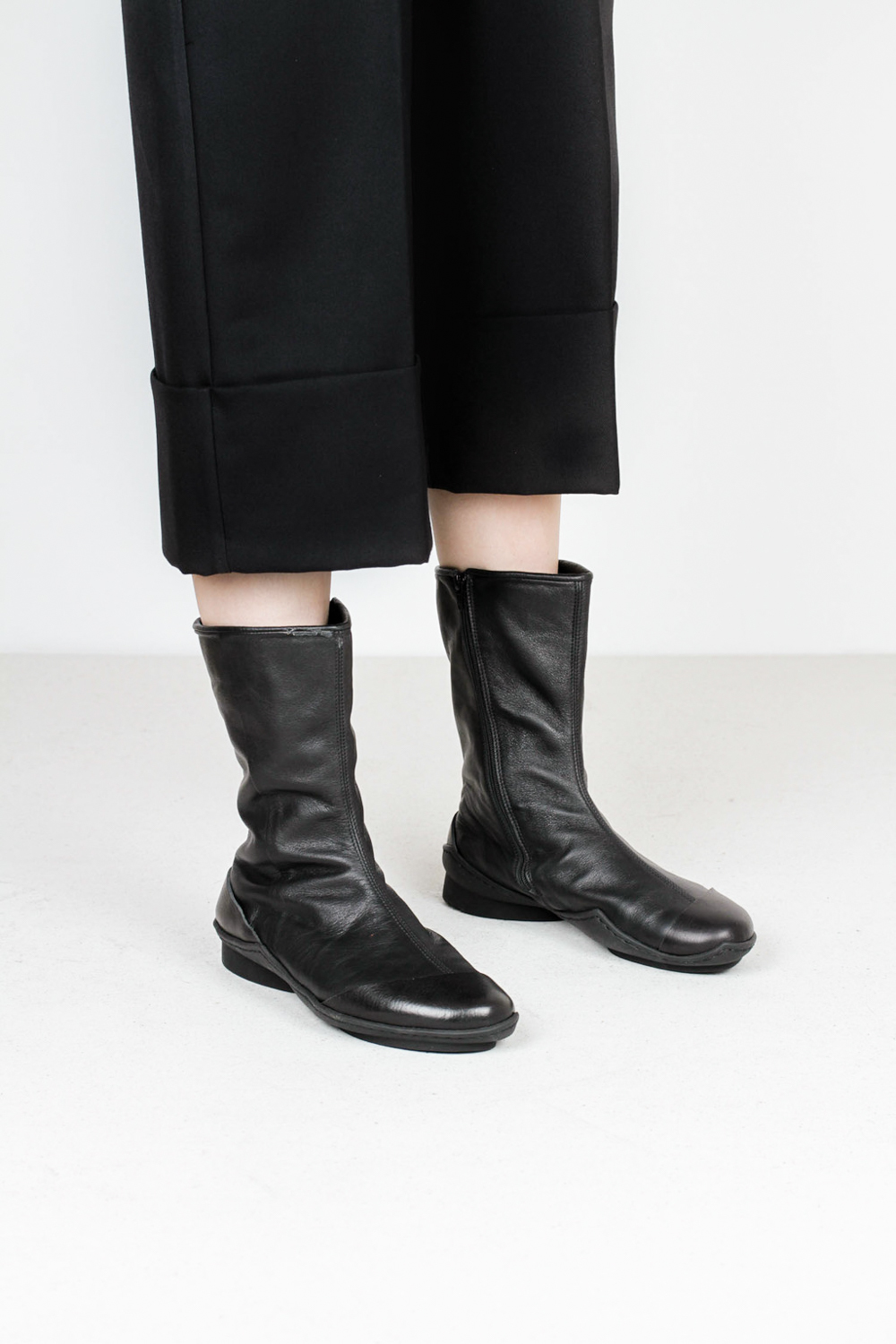 Trippen dolphin f waw blk sft blk leather boots