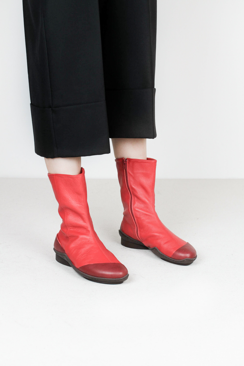 Trippen dolphin berry dpw red sft leather boots